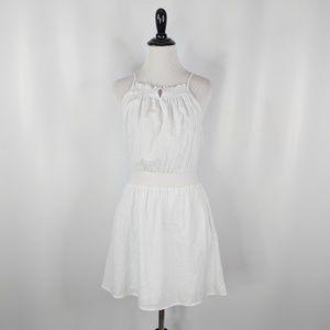 EVERLY white cotton sun dress smocking halter neck